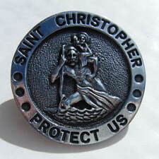 St Christopher for Car Visor Clip-on diameter 50mm Chrome Metal BRAND NEW