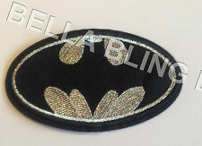 1 EMBROIDERED BOYS SILVER BATMAN BAT MAN IRON ON SEW ON PATCH APPLIQUE