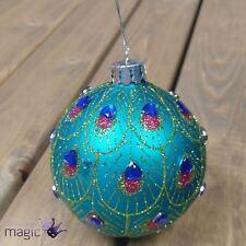 Gisela Graham Plume de paon coeur en strass pendant Sapin de Noël Boule de verre