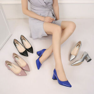 Women Sandals Pointed Toe Work Pump Block Mid Heel Office Lady Club Wear Elegant