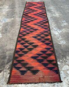 Hand Knotted Vintage Afghan Maimana Surpuri Kilim Gilam Wool Area Runner 10 x 2