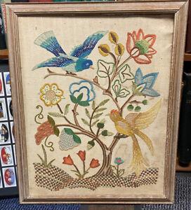 Antique Victorian Framed Art Needlepoint Canvas Tapestry Birds & Flowers