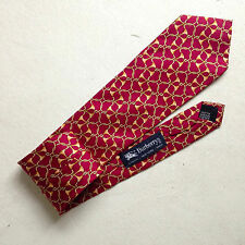cravatta BURBERRY burberrys SETA silk bordeaux ORO red gold NECKTIE