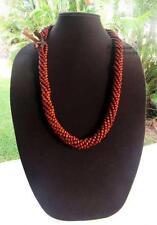 NEW Koa Wood Bead Honey Brown Lei Necklace ~ Hawaii Luau Wedding Graduation Hula