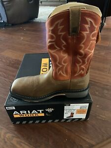 Mens ARIAT Workhog Square Toe Steel Toe Brown Leather Work Boots sz 11  D Medium