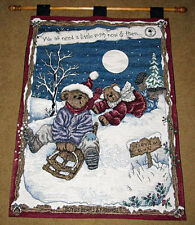Boyds Bears Enjoy The Ride w/Aspen & Tahoe Christmas Tapestry Wall Hanging