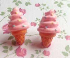 CUTE RETRO KITSCH KAWAII SWEET TREAT FOOD PINK ICE CREAM CONE STUD EARRINGS