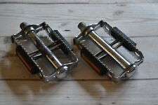 "Vintage Union U40 Chrome Steel Pedals Pair Set 9/16"" with TPP12 Reflectors"