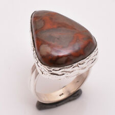 925 Solid Sterling Silver Ring Size UK O, Natural Jasper Gemstone Jewelry R2699