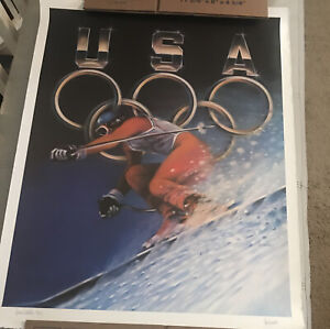 Vintage Special Edition Shelia Wolk Olympic Skiing Signed Lithograph 302/500