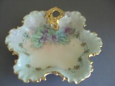 H Brankey Hand Painted Flowers Dish With Gold Trim
