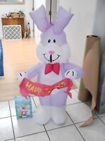 """Airblown Inflatable Easter yard Decor 4"""" indoor Easter Rabbit Purple"""
