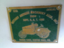 Nittany Antique Machinery Assn. Show 1986 Dash Plaque Center Hall Pa.