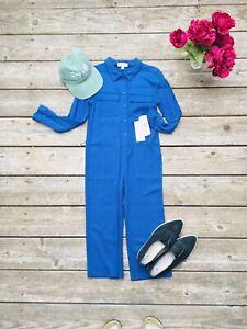 GB Girls Blue Twill Utility Jumpsuit Boiler Suit $49 Size Medium Girls Rayon