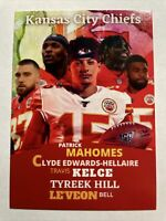 Patrick Mahomes, Tyreek Hill, Le'Veon Bell, Travis Kelce Clyde Chiefs Team Card