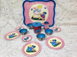 1940-50s Ohio Art, Red Plaid 14-pc Child's Tin Tea Set