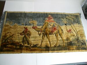 Vintage Egyptian Tapestry Camels Pyramids