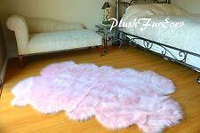 3' x 5' Baby Pink Nursery Girl Area Rug Sheepskin Rugs Faux Fur Cute Crib Decor