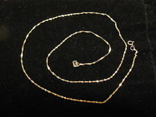 Solid 14K Yellow Gold Sparkle Twisted Link Chain 1mm Excellent Condition