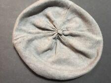 LL Bean Soft Knit Beret Tam Hat Cap Wool Angora Blend Gray W/blue Cuff One Size