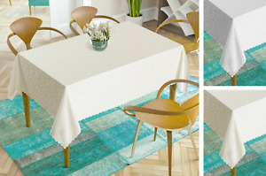 Large or Extra Large Luxury Jacquard Tablecloth, Water Repellent, Cream or White