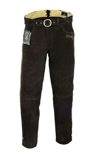 Trachten Lederhose lang inklusive Gürtel in Braun farbe Echtleder