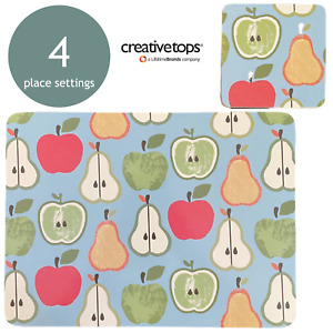 Set of 4 Placemats Apple Pears Design Dining Table Mats Dinner Home Kitchen