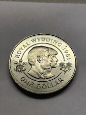 1981 Bermuda Royal Wedding Charles & Diana 1 Dollar AU+ #9085