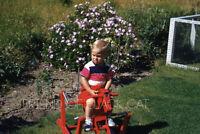 1950s Kodachrome Red Border Slide Child Boy on Rocking Horse Back Yard Garden