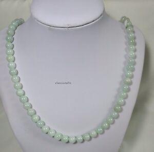Certified Grade A Green Jadeite Jade 8mm beads L52cm, Gemstone Necklace