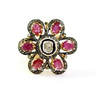 Natural Ruby Gemstone And Polki Diamond Victorian Fine Ring 925 Sterling Silver