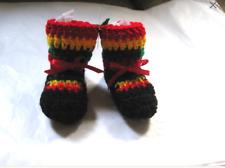 One Love Rasta Baby Booties Handmade Unisex Crochet 0-6 mo Reggae Jamaica Marley