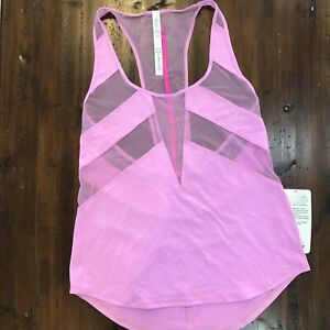 Lululemon NWT If Your Lucky Tank Size 8 Vintage Pink Mesh Bubblegum Pink