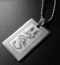 DOG TAGS STAINLESS STEEL DRAGON MENS BOYS  FATHERS DAY WEDDING Army navy M41