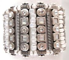 £40 Boho Tribal Aztec Silver White Beaded Bracelet Swarovski Elements Crystal