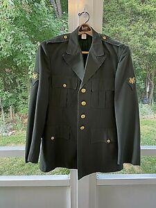 Vintage US Army  Class A Military Green Uniform Dress Jacket Coat Poly/Wool