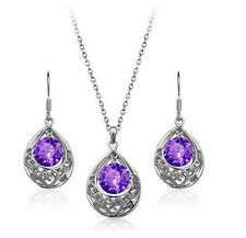 Silver and Purple Hollow Teardrop Jewellery Set Drop Earrings & Necklace S469
