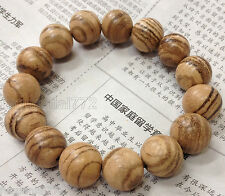 FRAGRANT SANDALWOOD MALA Prayer Bead Bracelet 14mm Wood Elastic Stretch Wrist