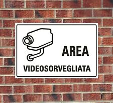 """TARGA IN ALLUMINIO """"AREA VIDEO SORVEGLIATA"""" , PANNELLO,CARTELLO,SEGNALETICA"""