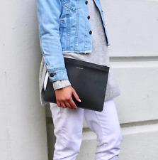 Leather Large Black Women's Pouch Purse Clutch Travel Wallet Bag