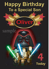 Lego Darth Vadar Star wars Birthday Card Son, Grandson, Daughter ,