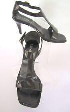 ESCADA Charcoal Patent T-Strap Stacked Heels Pumps Size 8 EU 38