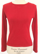 Villager Petite Liz Claiborne Long Sleeve Red Sweater Embroidered Floral Sz P