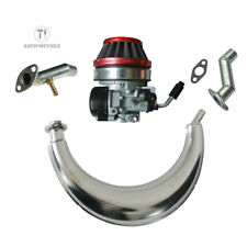 Red Air Filter&Muffler Exhaust Pipe&Carburetor For 49/80cc Motorized Bicycle