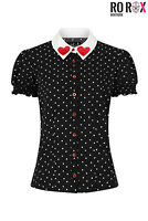 Hell Bunny Allie Hearts Pinup Retro Vintage 1950's Blouse Valentine's Shirt Top