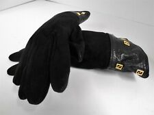 Fendi Italy Vintage Black Leather FF gloves RARE!!