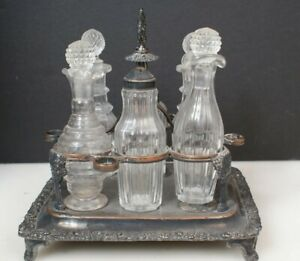 Antique French Cruet Gandais Palais Royal No. 118 Silver Plate Cruet Set