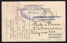 CARTOLINA Militare in franchigia 1916 da PM 13(?)° CA a Bologna (FILm)