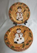 "Set of 6 ""Snowstorm"" Snowman Plates, Tabletops Unlimited, 9"", Luncheon Salad"