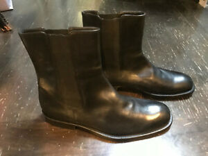 HUGO BOSS Black Leather Chelsea Boot Shoe Sz 10 Made in Italy